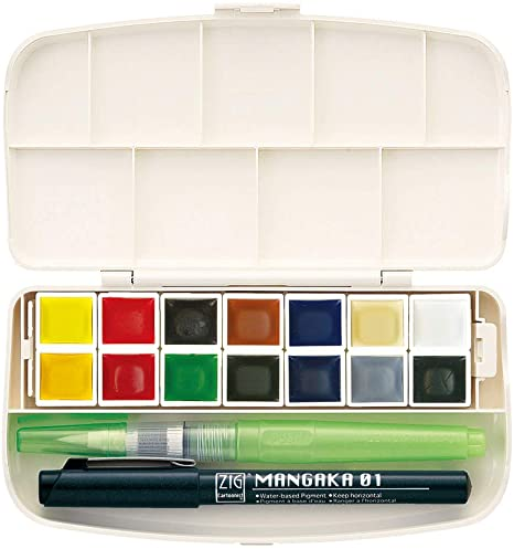 Kuretake Gansai Tambi Watercolour Paints Set - Portable 14 Colours