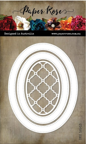 Paper Rose Stitched Oval Frames Metal Cutting Die