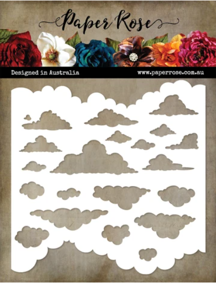 Paper Rose Cloud Stencil