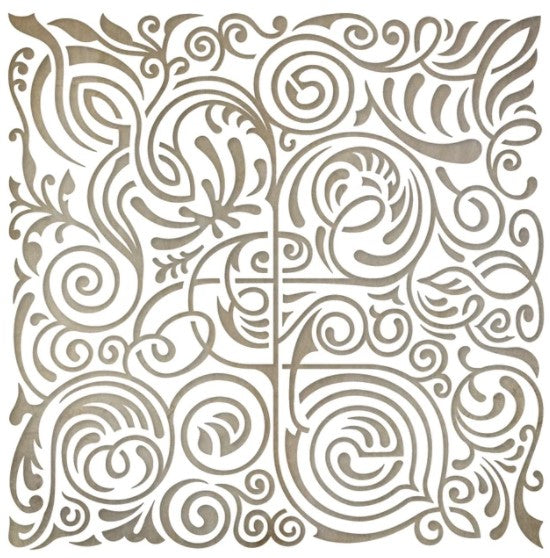"Paper Rose Flourish Square 2 6""x 6"" Stencil"