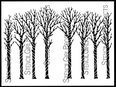 Stencil Girl - Winter Trees Bark