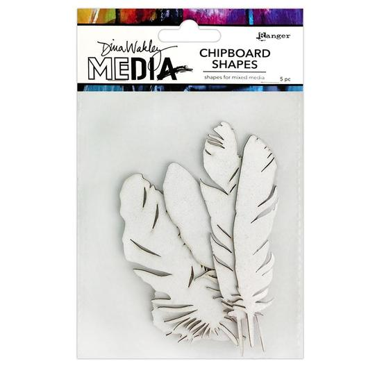 Dina Wakley Media Chipboard Shapes Feathers