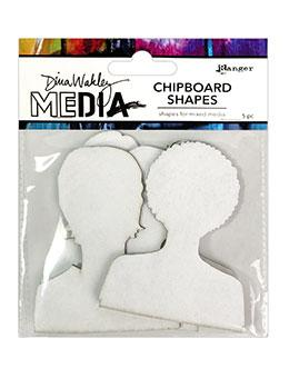 Dina Wakley Media Chipboard Shapes Passport Photos