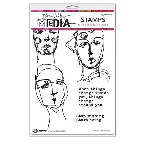 Dina Wakley Media - Cling Mounted Rubber Stamps - Change