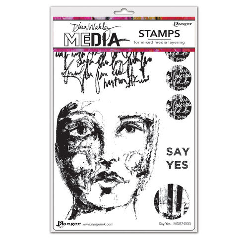 Dina Wakley Media - Cling Mounted Rubber Stamps - Say Yes