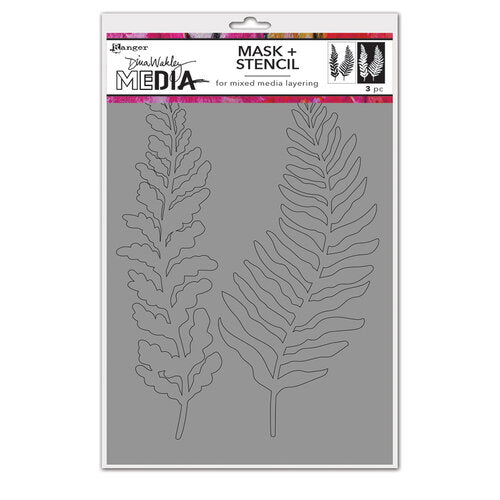 Dina Wakley Media - Stencil and Mask - Curly Frond