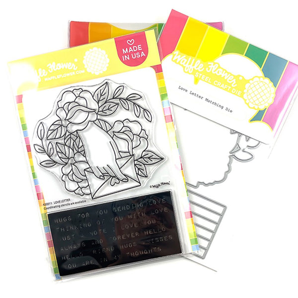 Waffle Flower Crafts Clear Stamp and Die Set - Love Letter