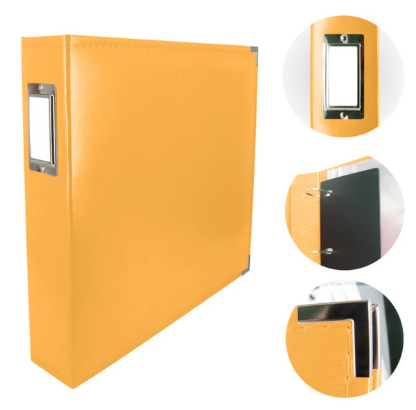 Couture Creations Album - Classic Superior Leather D-Ring Album - Buttercup Yellow