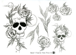 ScrapFX Skulls and Roses collage paper