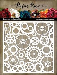 Paper Rose Cogs & Gears Stencil