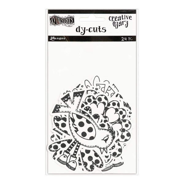 Dylusions Creative Dyary Die Cuts Black & White Birds & Flowers