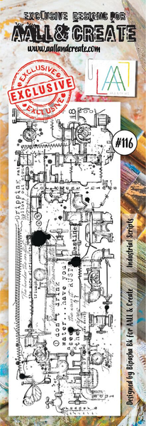 Aall & Create Rubber Stamps #116 Industrial Scripts