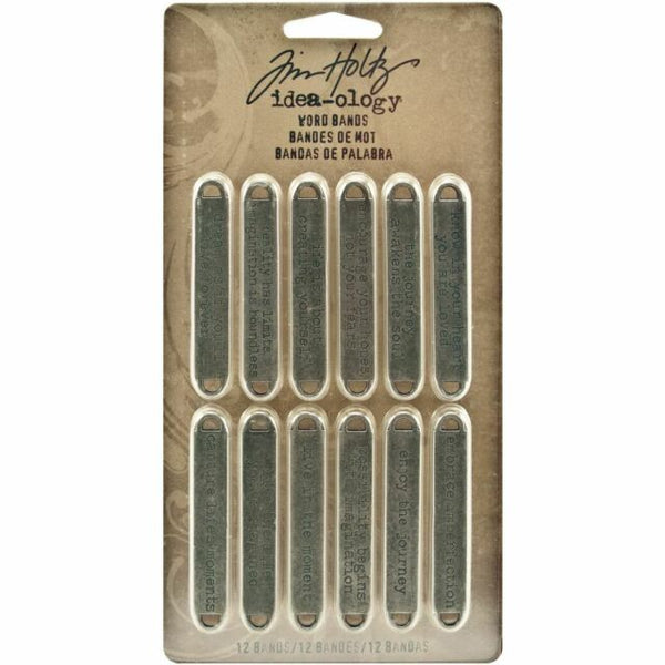 "Tim Holtz Idea-Ology Metal Word Bands .375""X2.375"" 12/Pkg"
