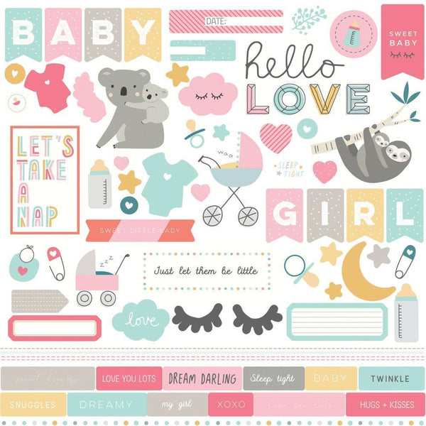 "Photoplay Snuggle Up Girl Stickers 12""x 12"" - Elements"