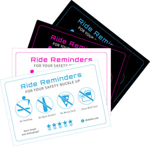 4 Ride Share Headrest Postcard Signs + 1 Headrest Cover