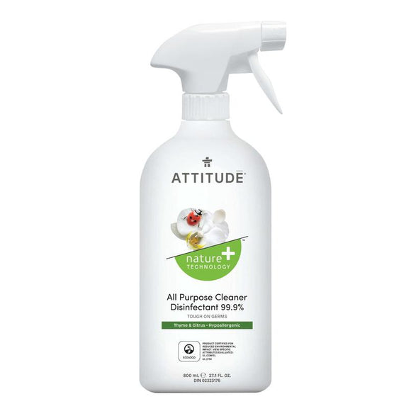 Attitude Nature+ All Purpose Cleaner Disinfectant Spray Thyme & Citrus 800ml - fifibaby