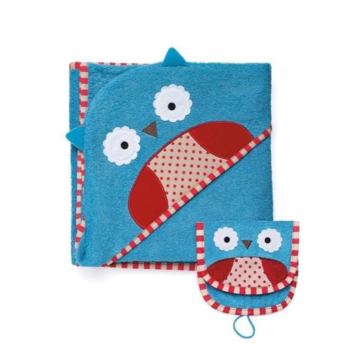 Skip Hop Zoo Hooded Towel and Mitt Set - Owl
