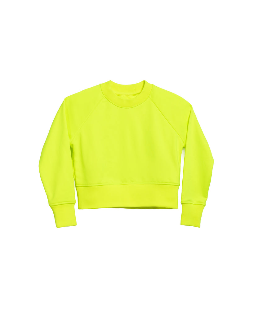 The Neon Crop Sweatshirt in Highlighter Yellow - x karla - x - karla - fashion - style - karla welch -