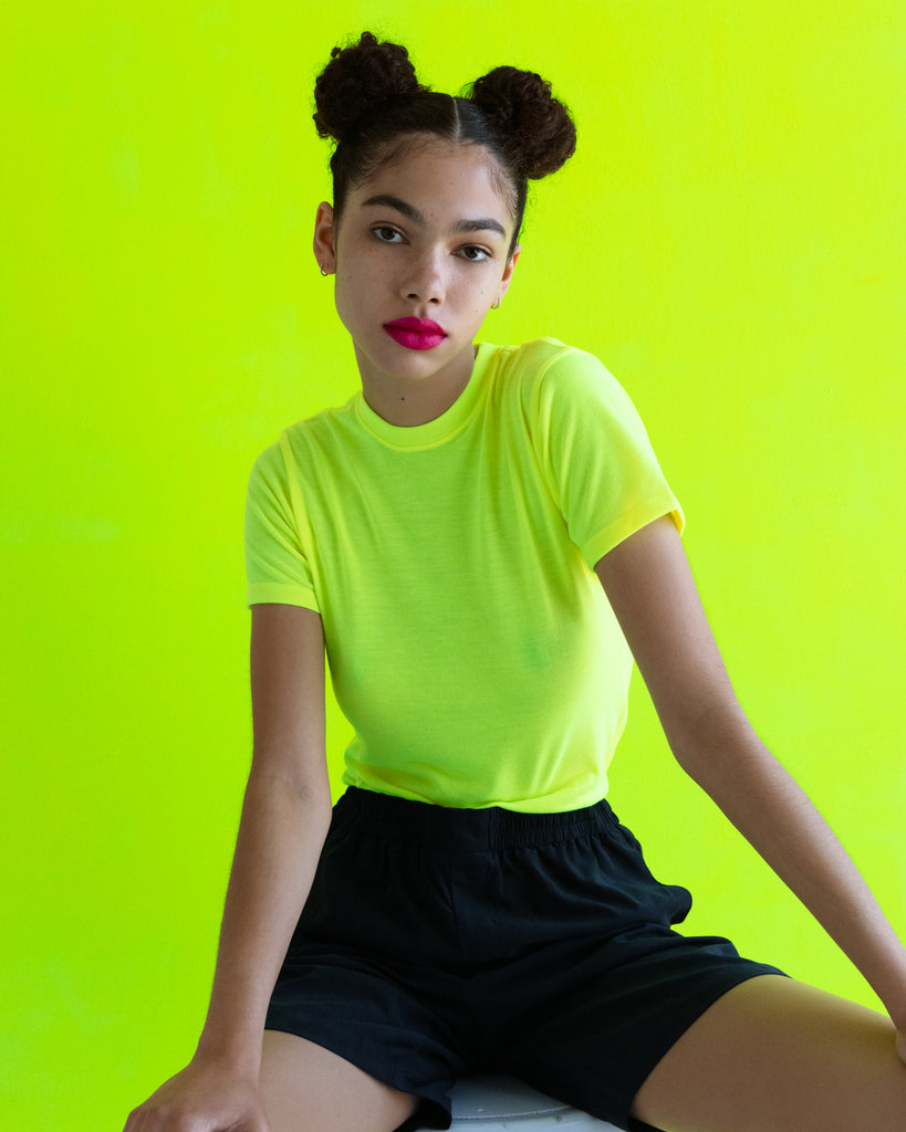 The Neon Crew in Highlighter Yellow - x karla - x - karla - fashion - style - karla welch -