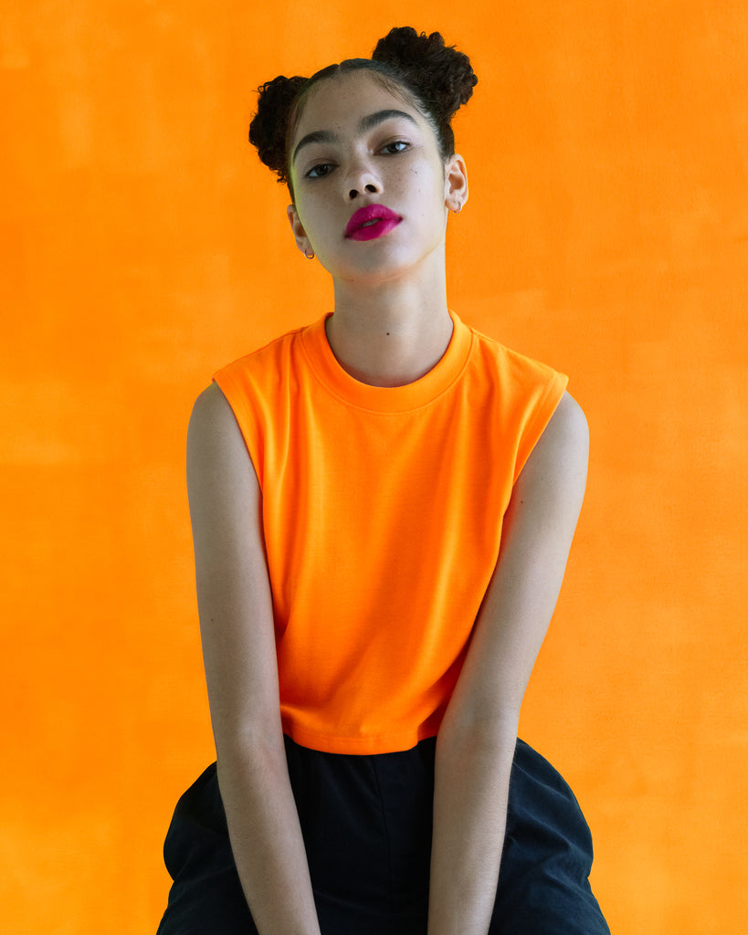 The Sleeveless Crop (Neon Orange) - x karla - x - karla - fashion - style - karla welch -