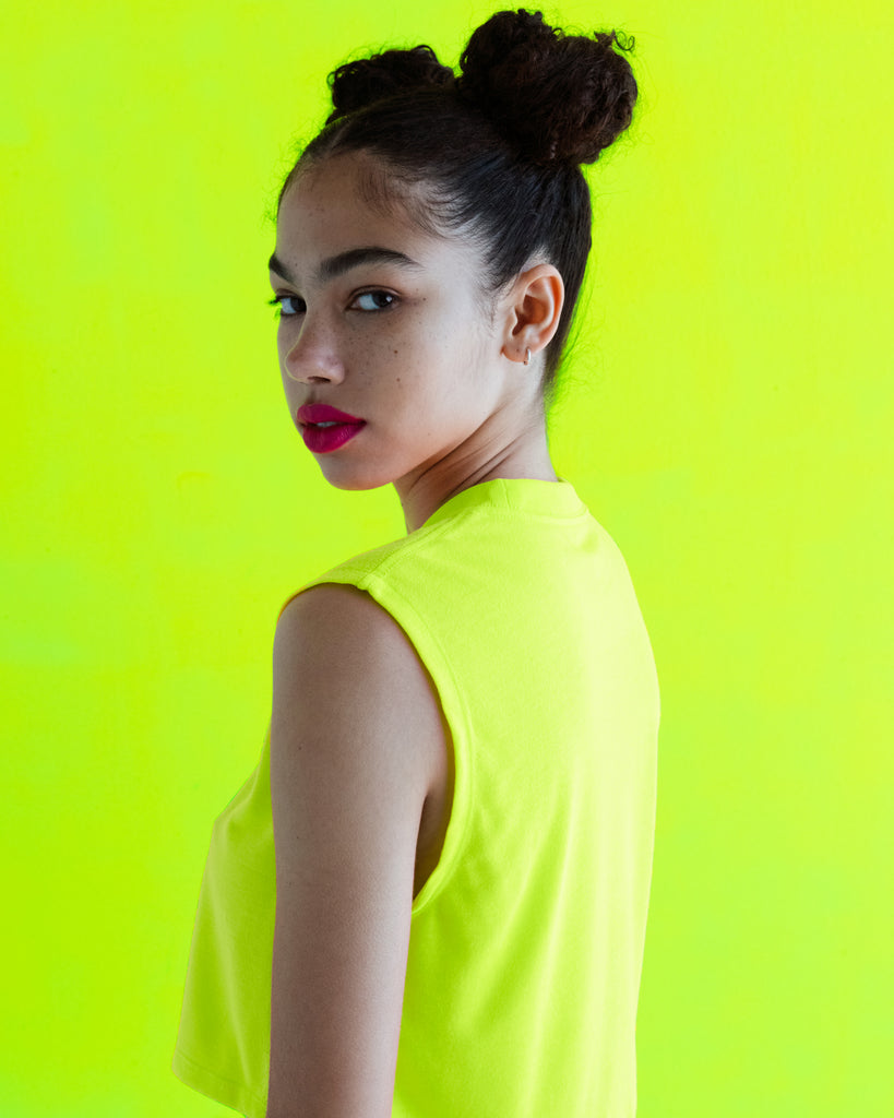 The Sleeveless Crop in Highlighter Yellow - x karla - x - karla - fashion - style - karla welch -