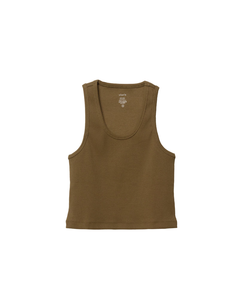 The Crop Tank in Fatigue Green - x karla - x - karla - fashion - style - karla welch -