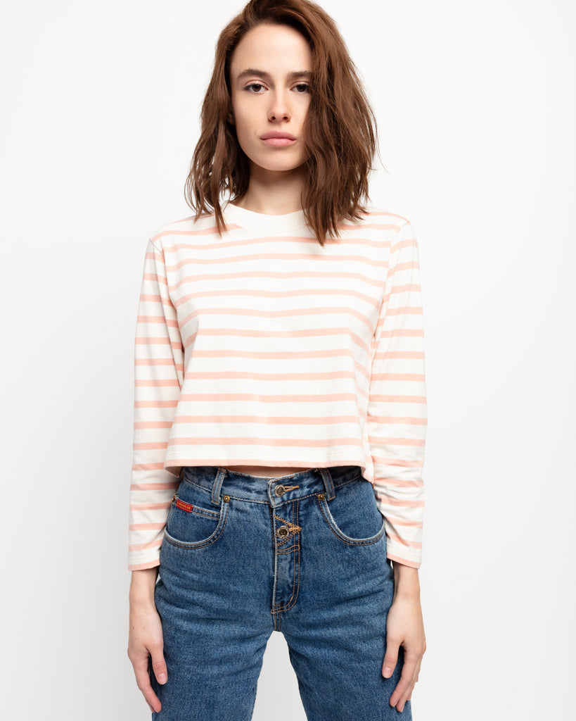 The Long Sleeve Crop in Cream & Pink - x karla - x - karla - fashion - style - karla welch -