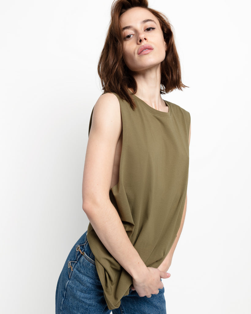 The Muscle Tank in Fatigue Green - x karla - x - karla - fashion - style - karla welch -