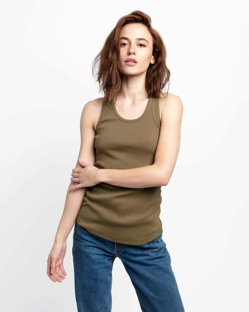 The Ribbed Tank in Fatigue Green - x karla - x - karla - fashion - style - karla welch -