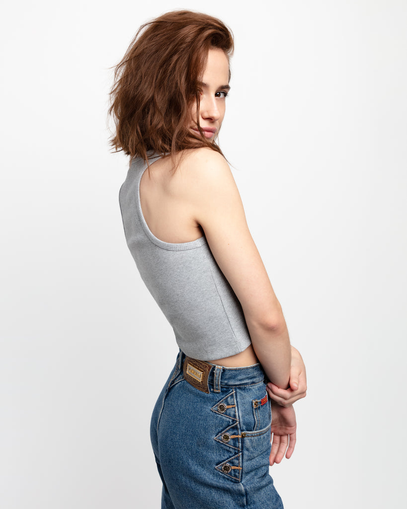 The Crop Tank in Heather Grey - x karla - x - karla - fashion - style - karla welch -