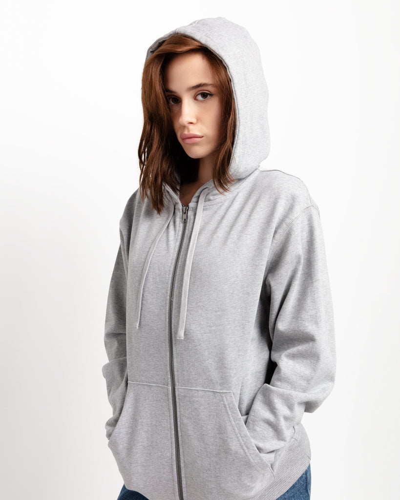 The Zip Hoodie in Heather Grey - x karla - x - karla - fashion - style - karla welch -
