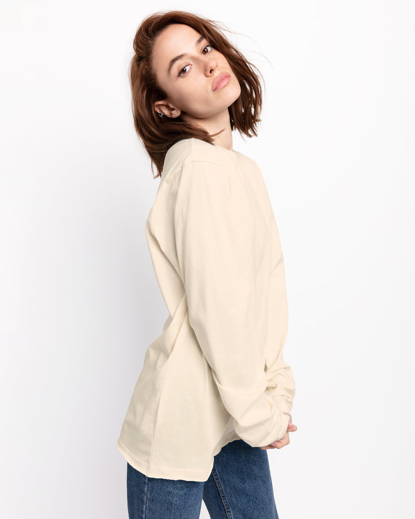 The Raw Hem Long Sleeve in Sand - x karla - x - karla - fashion - style - karla welch -