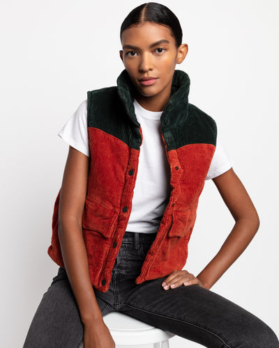 Levi's xkarla Corduroy Puffy Vest in Scarab and Persimmon - x karla - x - karla - fashion - style - karla welch -