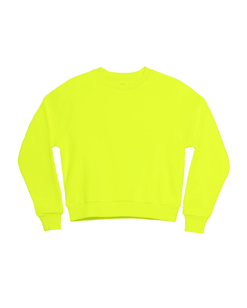 The Neon Raglan Crew Neck Sweatshirt in Highlighter Yellow - x karla - x - karla - fashion - style - karla welch -