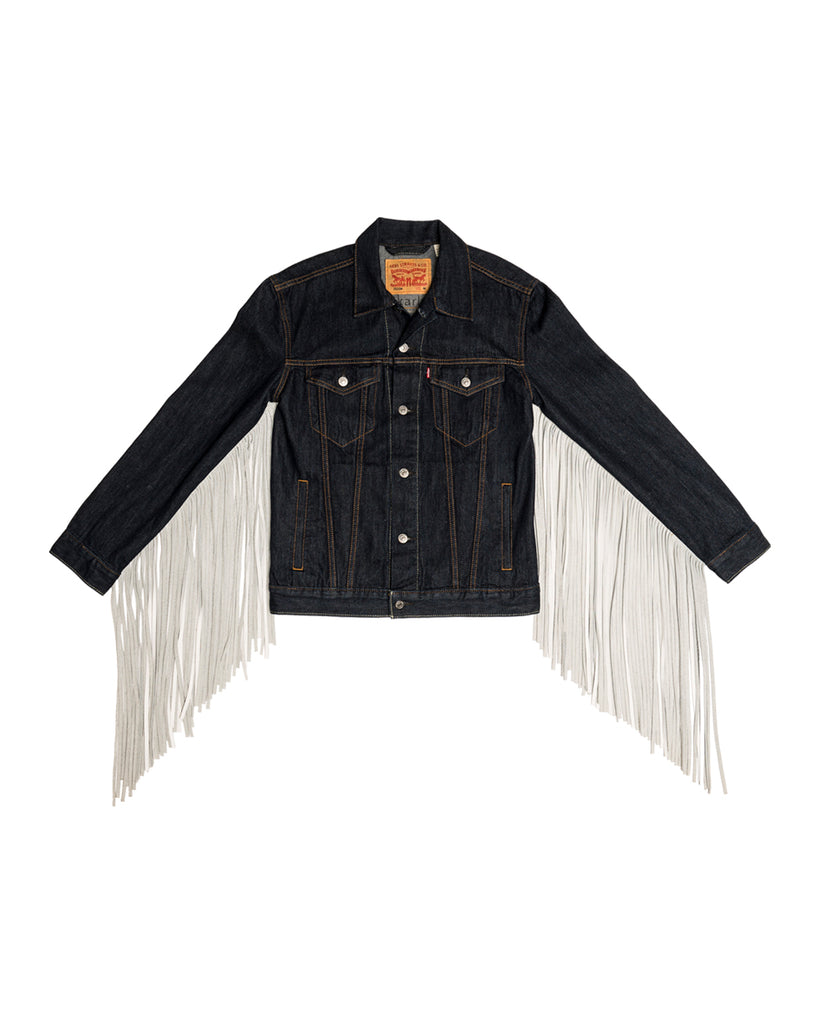 x-karla xkarla levis 501 day collection denim fringe trucker jean jacket 3