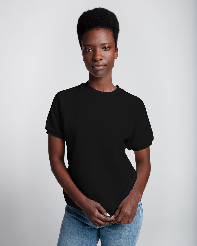 The Short Sleeve Sweatshirt (Black) - x karla - x - karla -