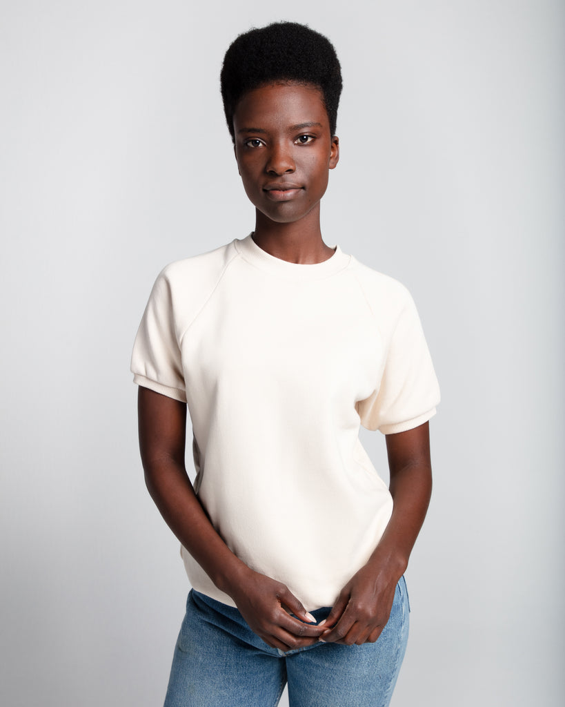 The Short Sleeve Sweatshirt (Cream) - x karla - x - karla - fashion - style - karla welch -