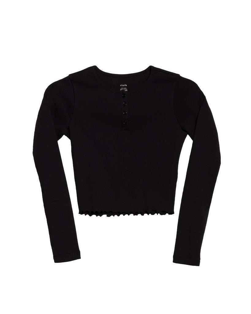 The Crop Henley (Black)