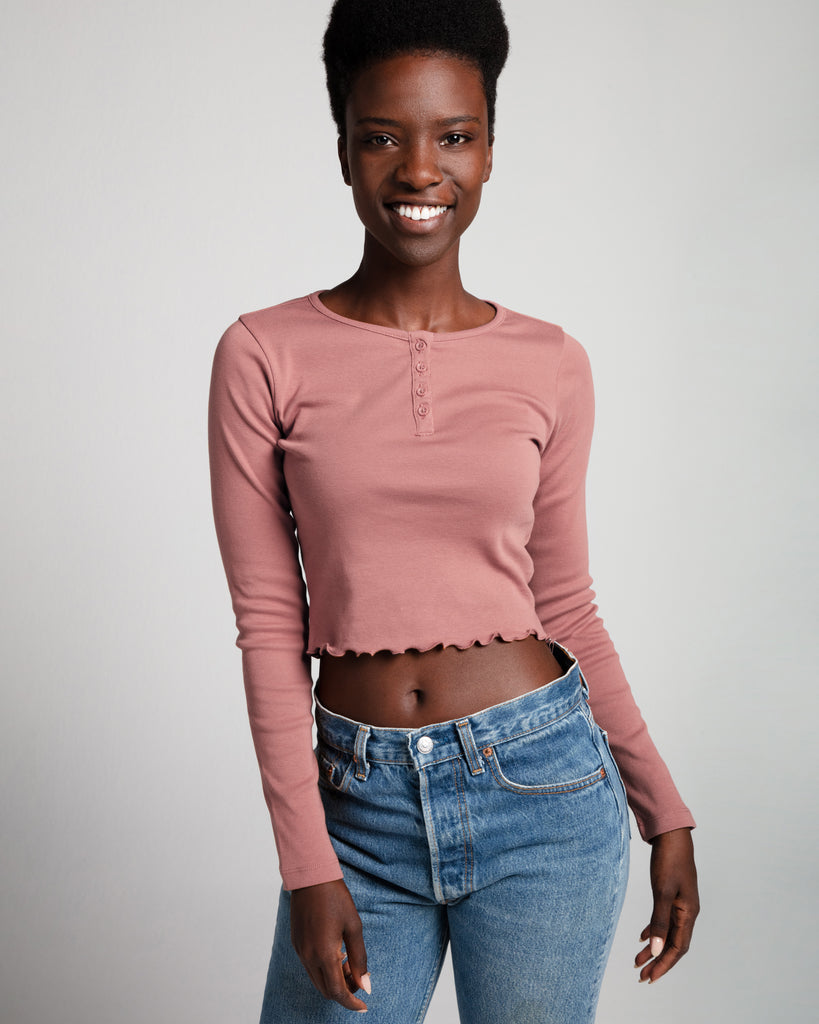 The Crop Henley (Pink) - x karla - x - karla -
