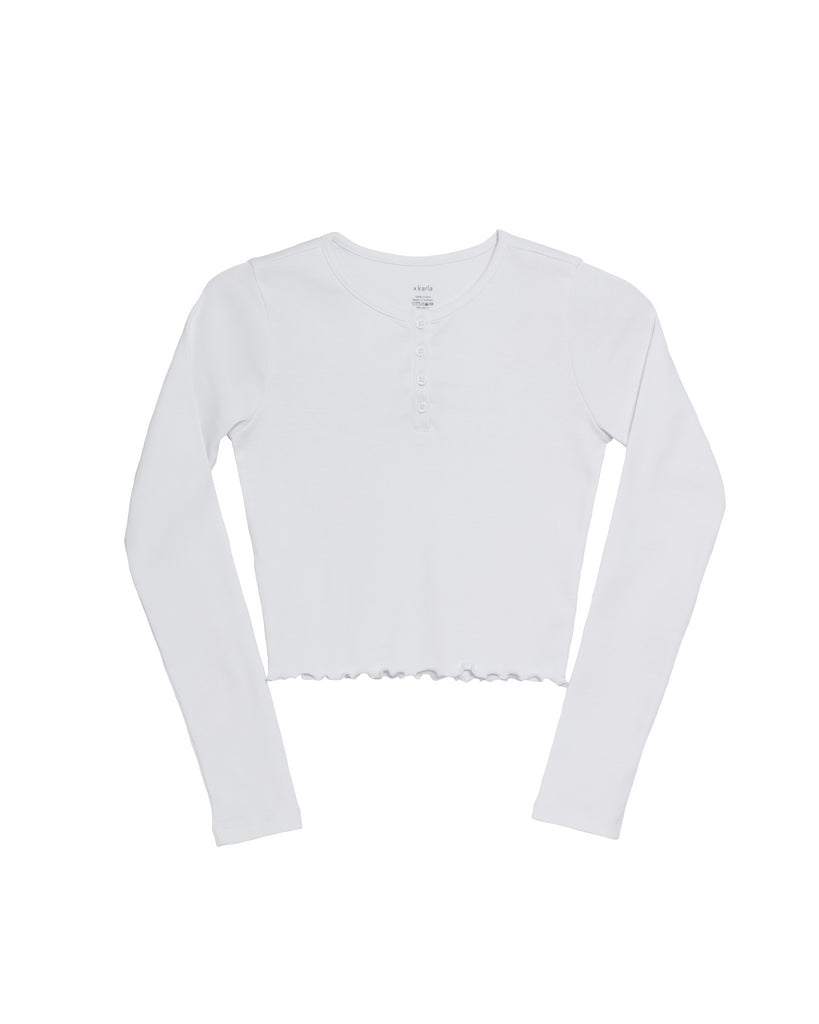The Crop Henley (White)