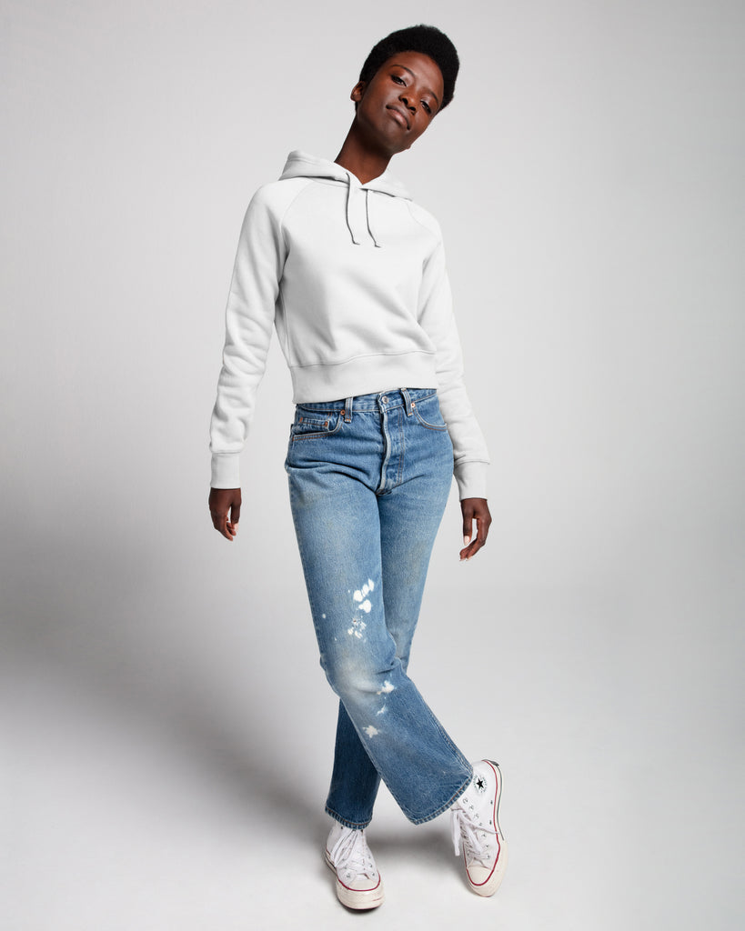 The Crop Hoodie in White - x karla - x - karla - fashion - style - karla welch -