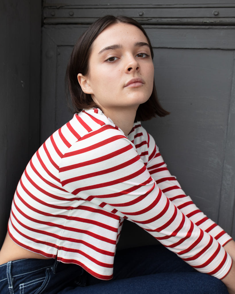 The Long Sleeve Stripe Crop (Off White/Red)