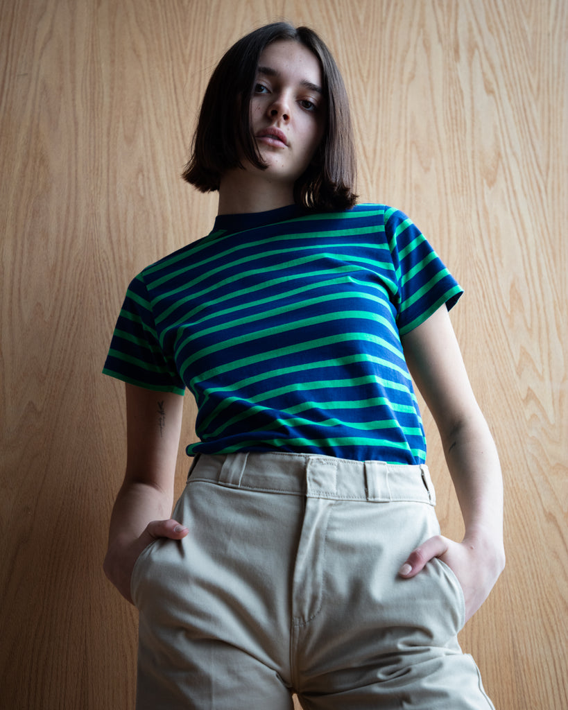 The Stripe Crew in Navy & Green Stripe - x karla - x - karla - fashion - style - karla welch -