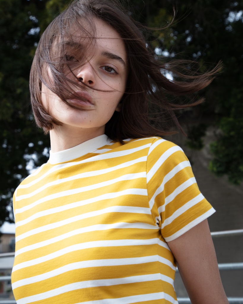 The Stripe Crew in Mustard & Off White - x karla - x - karla - fashion - style - karla welch -