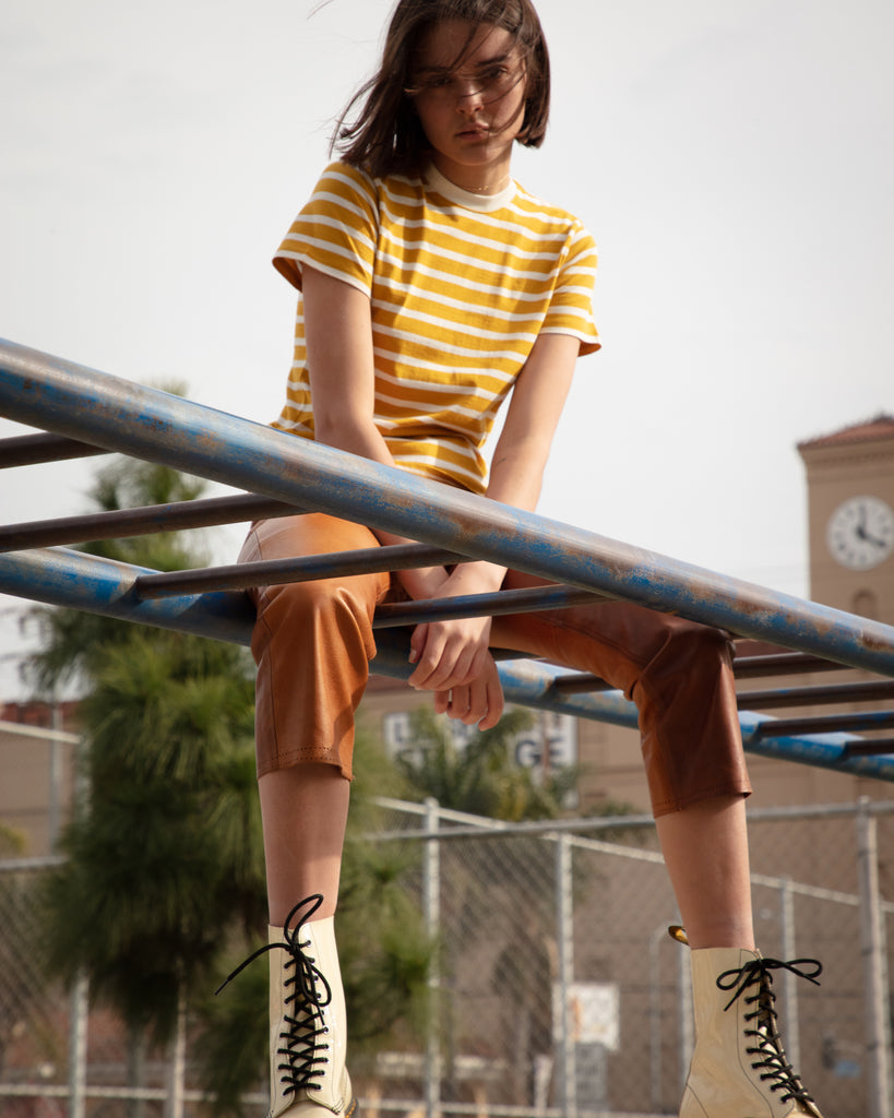 The Stripe Crew (Mustard/Off White) - x karla - x - karla - fashion - style - karla welch -