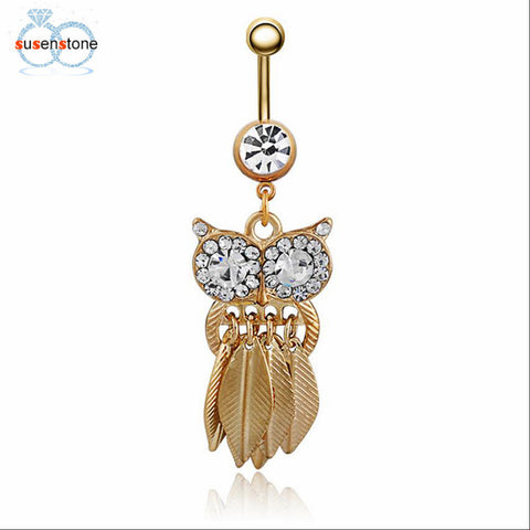 Cute Crystal Owl Dangle Belly Button Bar Navel Ring Body Piercing Jewelry