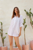 Abelle - Button Up Shirt Playsuit in White