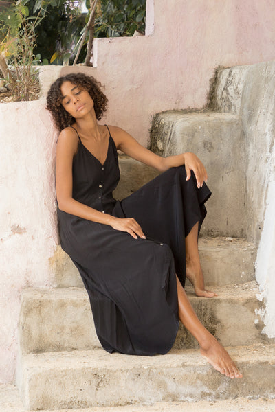 Bambi - Slip Maxi Dress in Black
