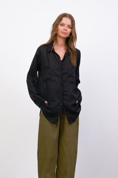 The Cruise - Long Sleeve Button Up Shirt in Black