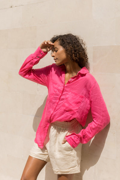 The Cruise - Long Sleeve Button Up Shirt in Peony Pink